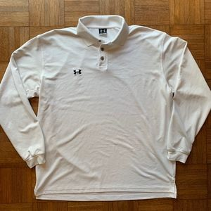 Under Armour Shirts - Under Armour White Long Sleeve Polo Shirt, Large L